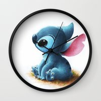 stitch Wall Clocks featuring Stitch by Patricia Teo