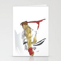 street fighter Stationery Cards featuring The Street Fighter by JoPruDuction Art