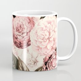 Vintage & Shabby Chic Pink Floral camellia flowers watercolor pattern Coffee Mug