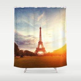 Sunset Eiffel Tower Shower Curtain