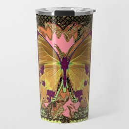 Ornate Mauve Swallow Tailed Butterfly Yellow-Khaki Design Travel Mug