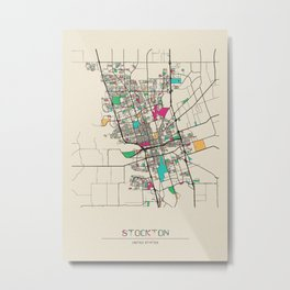 Colorful City Maps: Stockton, California Metal Print