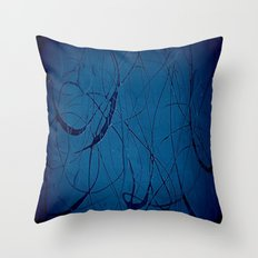 Navy Blue - Jackson Pollock Style Art - Abstract - Expressionism - Modern Throw Pillow