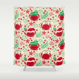 Here Comes Sandy Claws (Christmas Crabs) Shower Curtain