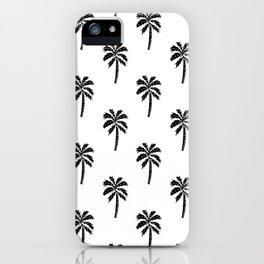 Palm Tree linocut minimal tropical black and white decor iPhone Case