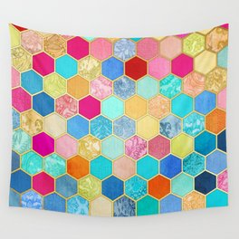 Patterned Honeycomb Patchwork in Jewel Colors Wall Tapestry