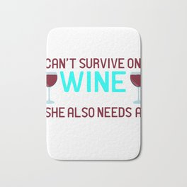 A Persian Cat Tee Saying Woman Can't Survive On Wine Alone She Also Needs A Persian Cat T-shirt Bath Mat