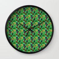 sesame street Wall Clocks featuring Sesame Street Pattern by MOONGUTS (Kyle Coughlin)