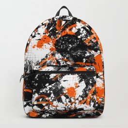 Individualistic Graffiti 7 Black White Orange - Abstract Art Series Backpack