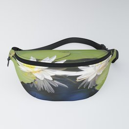 Tropical White Waterlilies  Fanny Pack