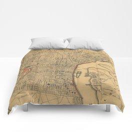Vintage Map of Philadelphia Pennsylvania (1857) Comforters