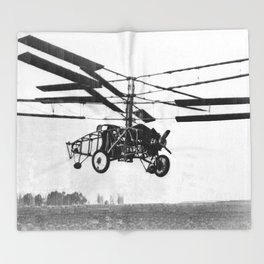 Helicopter Invention Throw Blanket