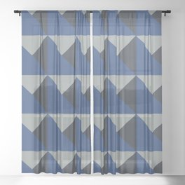 Blue + Gray Origami Geo Tile Sheer Curtain