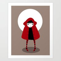 red riding hood Art Prints featuring Little Red Riding Hood by Volkan Dalyan
