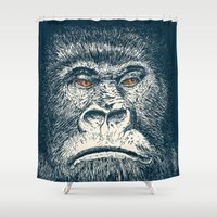 gorilla Shower Curtains featuring Gorilla by Lara Trimming