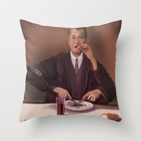 magritte Throw Pillows featuring Rene Magritte- self portrait by Dano77