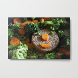 Vegan food. Smiling soy burger. Metal Print