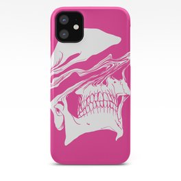 Liquify skull in hot pink iPhone Case