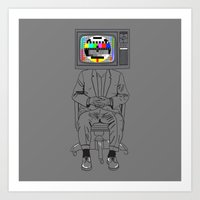 Tv Head Art Print