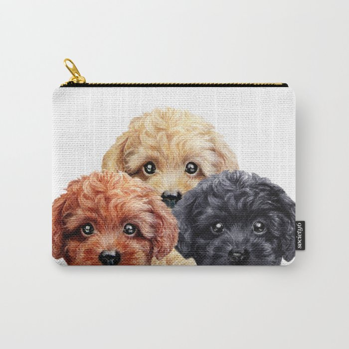 Toy poodle trio, Dog illustration original painting print Carry-All Pouch
