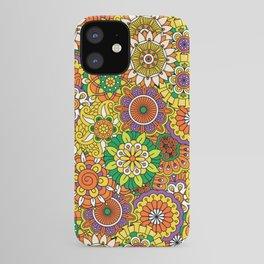 Funky Vintage Retro 70s Golden Hippie Flower Pattern iPhone Case