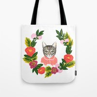 leah flores Tote Bags featuring Scout con Flores by Leah Romero