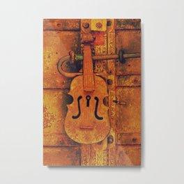 Rustic door with violin padlock Metal Print