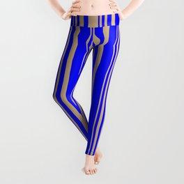 Tan & Blue Colored Stripes Pattern Leggings