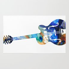 Vintage Guitar - Colorful Abstract Musical Instrument Rug