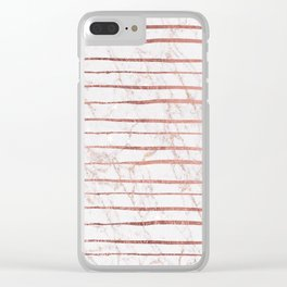 Stylish rose gold glitter stripes white marble pattern Clear iPhone Case