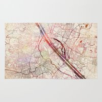 vienna Area & Throw Rugs featuring Vienna by MapMapMaps.Watercolors