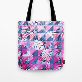 Abstract Hot Pink Geometric Tropical Design Tote Bag