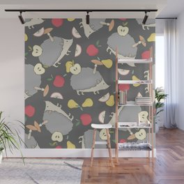 Hedgehogs and fruits pattern Wall Mural