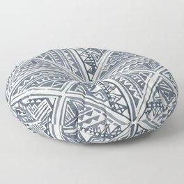 Simply Tribal Tile in Indigo Blue on Lunar Gray Floor Pillow