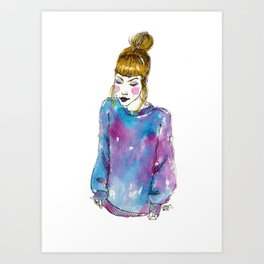 Fashion Illustration - Girl with a Sweater Art Print