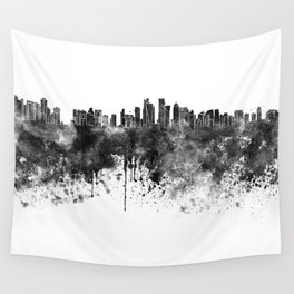 Doha skyline in black watercolor  Wall Tapestry