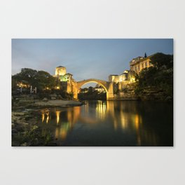 Stari Most by night  Canvas Print