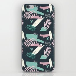Abstract blue pink white teal brushstrokes floral iPhone Skin