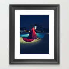 mexican luchador at the pool Framed Art Print