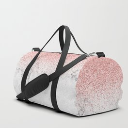 Rose Gold Glitter and white marmble Duffle Bag