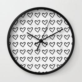 Big Heart Ink Pattern Wall Clock
