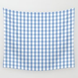 Classic Pale Blue Pastel Gingham Check Wall Tapestry