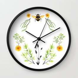 Bees in the Garden - Watercolor Graphic Wall Clock