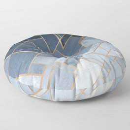 Blue and gold geometric pattern Floor Pillow