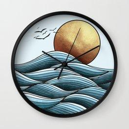 Golden Ocean Sunset Wall Clock