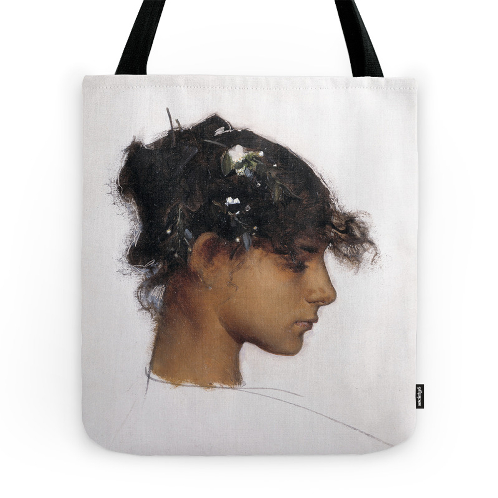 John Singer Sargent - Rosina Ferrara, Head of a Capri Girl Tote Purse by fineearthprints (TBG7247374) photo