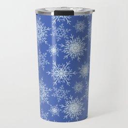 Christmas pattern with snowflakes on blue. Travel Mug