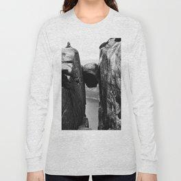 Nordic print, black white wall art, Amazing fjord, Norway cliffs, kjeragbolten, holiday Long Sleeve T-shirt
