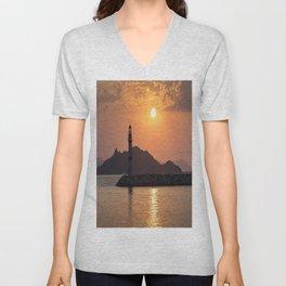 Lighthouse Sunset Unisex V-Neck