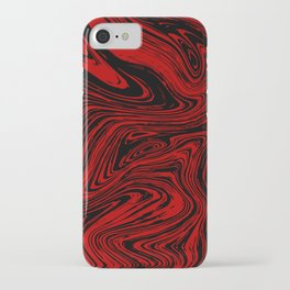 Red and black marble pattern iPhone Case